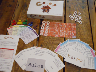 "Pictured: game components of ""Co-op"" (available from The Gamecrafter, LLC)"