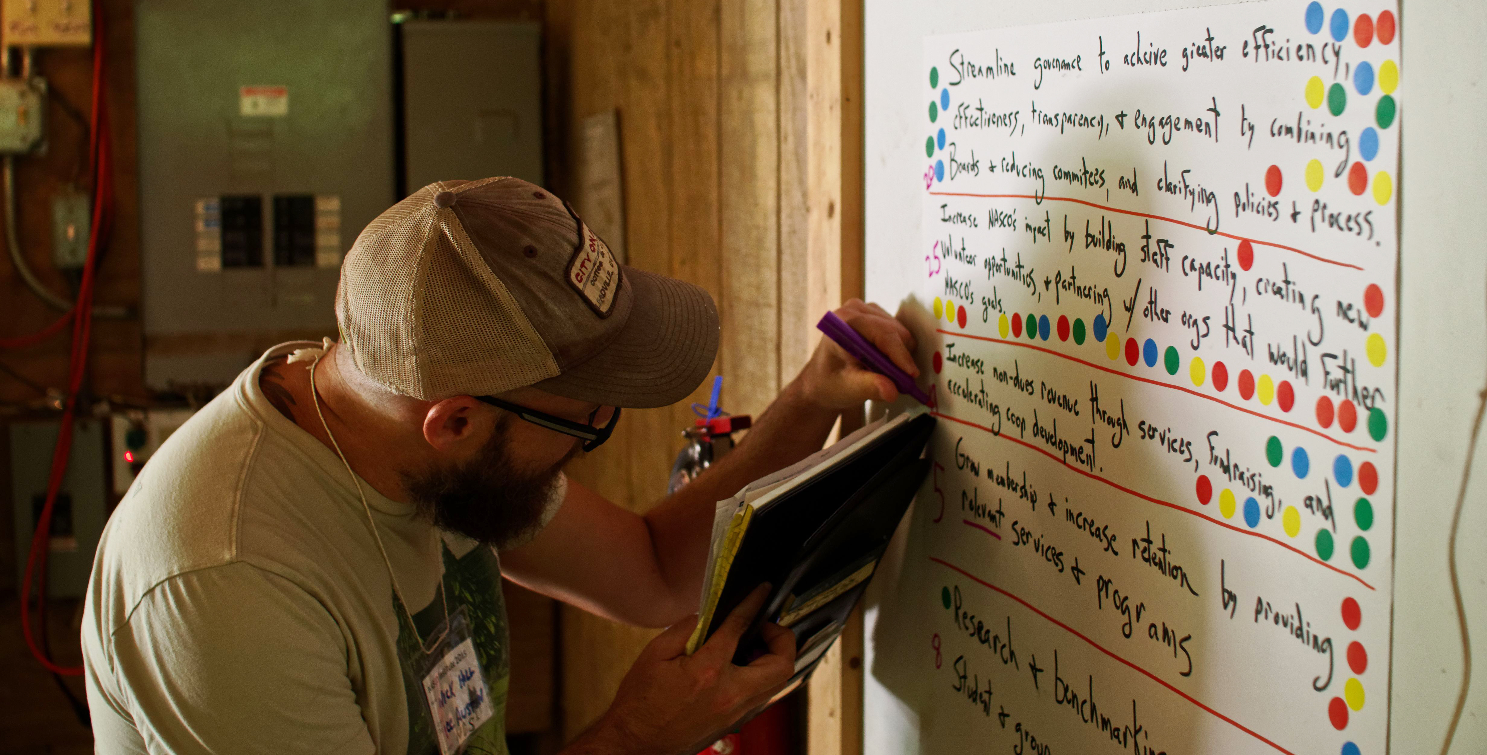 Cooperator adding text to a collaborative planning poster